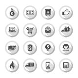 Shopping flat icons set 01. Set gray flat buttons, symbols with shadow. Vector illustration 10eps Royalty Free Stock Images