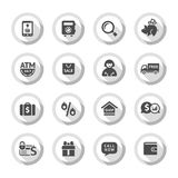 Shopping flat icons set 04. Set gray flat buttons, symbols with shadow. Vector illustration 10eps Vector Illustration