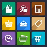 Shopping Flat Icons Set 36. Set Flat pictogram supermarket services, Shopping Icons for Web and Mobile Applications Royalty Free Stock Photos