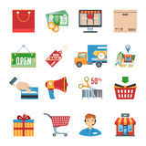Shopping Flat Icons Set Royalty Free Stock Images