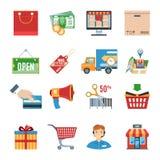 Shopping Flat Icons Set Royalty Free Stock Images