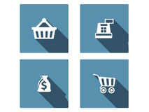 Shopping Flat Icons Set Royalty Free Stock Photos