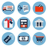 Shopping Flat Icons Royalty Free Stock Image