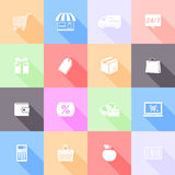 Shopping flat icons. Vector set of shopping flat icons with long shadow Royalty Free Stock Photo