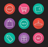Shopping flat linear long shadow icons set Royalty Free Stock Image