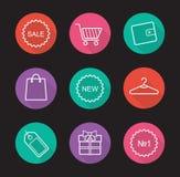 Shopping flat linear long shadow icons set Royalty Free Stock Image