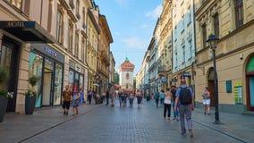 Shopping in Florianska street, Krakow, Poland stock video