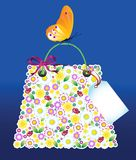 Shopping Flowers Bag Stock Photo