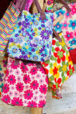 Shopping flowers bag Stock Image