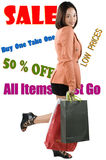 Shopping Frenzy. Picture of a Woman in a shopping frenzy royalty free stock image