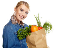 Shopping for fruits and vegetables Royalty Free Stock Image
