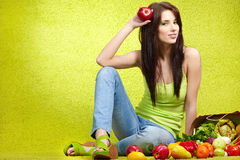 Shopping for fruits & veggies Stock Photography