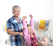 Shopping fun. Mother and daughter having fun when they shopping Stock Images
