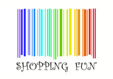 Shopping Fun with barcode in rainbow colors. Happy shopping - A fun and colorful computer illustrated image of a set of barcode in the rainbow spectrum colours Stock Photography