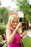 Shopping gal. som kontrollerar bild Royaltyfri Foto
