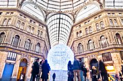 Shopping gallery Galleria Umberto I in Naples, Italy. Naples, Italy -January 1, 2014: day view of public shopping gallery Galleria Umberto I in Naples, Italy stock photography
