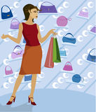 Shopping Galore. Woman shopping in a boutique, holding bags and surrounded by handbags Vector Illustration