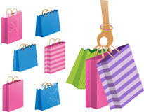 Shopping or Gift Bags. Cute coloful bags oerfect for shopping or gifts Stock Photos