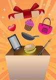 Shopping Gift Box Surprise Vector Illustration Royalty Free Stock Photos