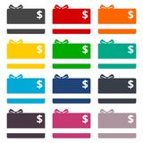 Shopping gift card flat icons set. Vector icon Royalty Free Stock Photography