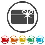 Shopping gift card icon, Gift card Icon, 6 Colors Included. Simple vector icons set Stock Image