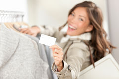 Shopping gift card sign woman Stock Photography