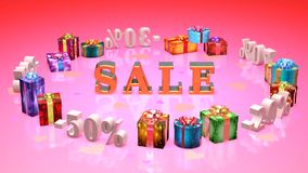 Shopping and gifts Valentines Day (discounts, dumping,%, percentages, purchase, sale) stock footage