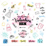 Shopping gifts Valentines day vector graphics Royalty Free Stock Photography