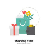 Shopping and gifts. Shopping and gifts on white background. Flat Vector Illustration royalty free illustration