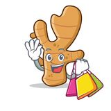Shopping ginger character cartoon style. Vector illustration Royalty Free Stock Image