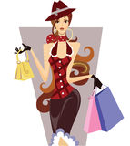 Shopping girl. Woman with purchases in a checkered jacket Royalty Free Stock Photography