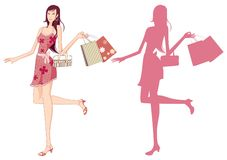 Shopping girl. An illustrated background with silhouettes of shopping women Royalty Free Stock Photography