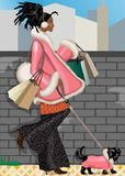 Shopping girl. Vector illustration of young african american shopping girl with her dog royalty free illustration