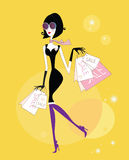 Shopping girl. Sales begin! Girl with shopping bags. Lifestyle vector Illustration vector illustration