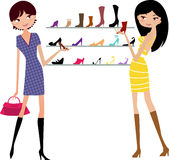 Shopping girl. Fashion girl is shopping-illustration Royalty Free Stock Photos