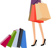 Shopping girl. Long legs woman is shopping-illustration Stock Photos