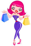Shopping girl. Illustration of a fashionable shopping girl holding shopping bags Stock Photos