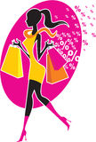 Shopping girl. Colorful shopping girl silhouette. Sale concept Royalty Free Stock Images