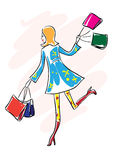 Shopping girl. Sketch styled illustration of young happy lady with shopping bags Royalty Free Stock Photos