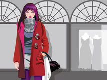 Shopping girl. Woman walking on the street shopping Royalty Free Illustration