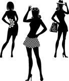 Shopping girl. Silhouette of shopping girl with model proportions Royalty Free Stock Images