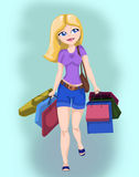 Shopping girl. Illustration of a beautiful blond girl shopping with lots of bags Stock Photos
