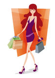 Shopping girl. Attracting  shopping girl with bags Stock Photo