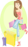 Shopping girl. Beautiful young girl, that is carrying packages, has her shopping day Royalty Free Illustration