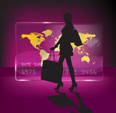 Shopping girl. Happy shoping girl with white baggs on the pink background with touchscreen with world map Stock Photos