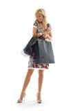 Shopping girl #3. Lovely beauty with shopping bags Royalty Free Stock Photo