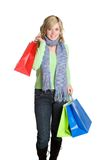 Shopping Girl. Beautiful girl carrying shopping bags stock photo