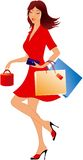 Shopping girl. Beauty shopping girl with bag Royalty Free Stock Photo