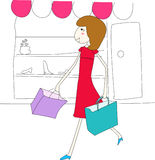 Shopping girl. Vector illustration, conceptual image Royalty Free Stock Photo