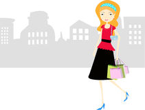 Shopping girl. Vector illustration of girl with shopping bags on the sales Royalty Free Stock Images